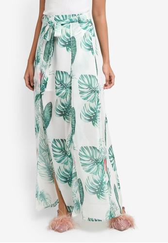 Something Borrowed white Thigh Split Maxi Skirt with Sash 8D8B2AA3F6DE8FGS_1