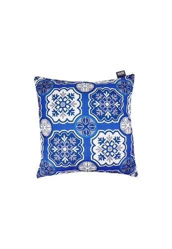 HOUZE blue HOUZE - LIV Peranakan Cushion Cover - Blue C 4958BHLD1E7FFCGS_1