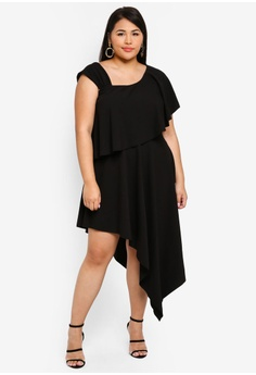 365f8f552fbc Goddiva black Plus Size One Shoulder Midi Dress F0836AA0210876GS 1