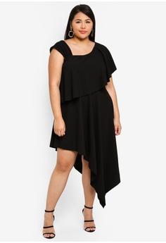 42cc5fa4622af Goddiva black Plus Size One Shoulder Midi Dress F0836AA0210876GS 1