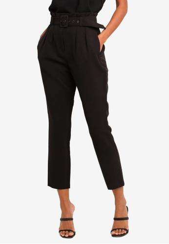 Forever New black Petite Tori High-Waist Paper Bag Slim Pants 69935AAB679BCEGS_1