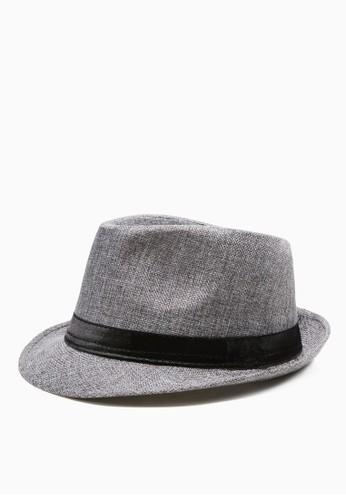 撞色仿麻紋。紳士草帽-05180-灰色, 飾品配件, 紳esprit 香港士帽