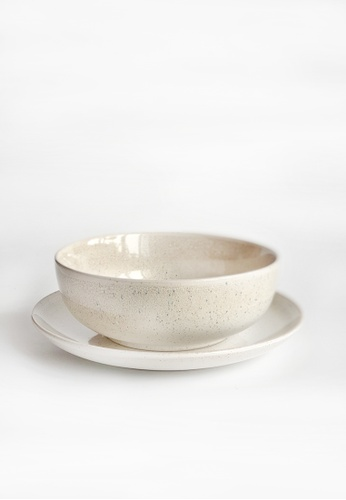 Your Lagom white and beige Warm Sand Plate & Bowl Set 74E0DHL4500268GS_1