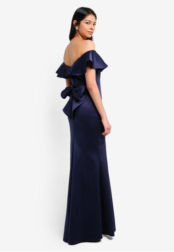 Goddiva navy Bardot Frill Satin Maxi Dress With Bow Detail 9CC41AA98CFE68GS_1