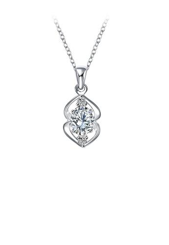 Glamorousky white Elegant Geometric Pendant with White Cubic Zircon and Necklace EA773AC80E375FGS_1