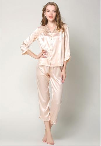 sale retailer 761cc d172c Silk Long Sleeve Long Pants Pyjamas Set L7019-CAM