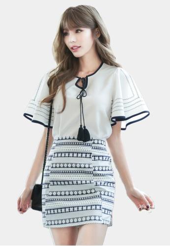 Shopsfashion white and blue Blouse and Geometric Mini Skirt Set SH656AA0GYCHSG_1