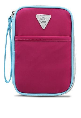 Bagstationz purple Colour Block Travel Zip-Up Passport Pouch 29843AC86AE81DGS_1