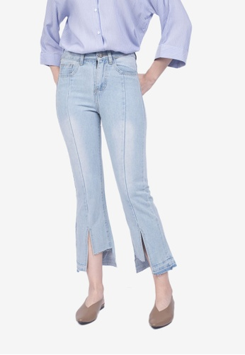Caoros blue Asymmetrical Slit Jeans 28766AAADED010GS_1