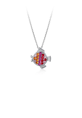 Glamorousky silver 925 Sterling Silver  Fashion Pisces Pendant with Colored Austrian Element Crystals and Necklace 10F1DACE3B2EDFGS_1