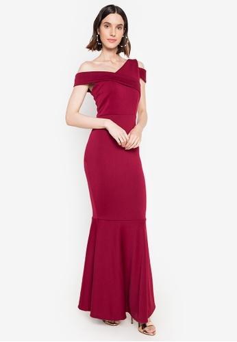 Hug red Harper Asymmetrical Long Dress 312F1AA2A6F328GS_1