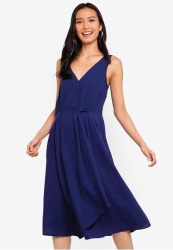 ZALORA 海軍藍色 Pleat Details Midi Dress A24B0AA67901F4GS_1