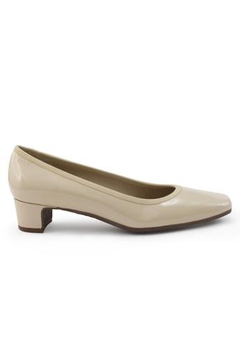 Shu Talk 白色 方頭漆皮粗低跟鞋 SH544SH09U2MTW_1