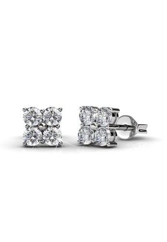 Her Jewellery silver Swarovski® Crystals - Sweet Square Earrings (18K White Gold Plated) Her Jewellery HE581AC0RAFSMY_1