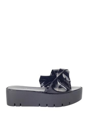 London Rag 黑色 黑色松高平底托凉鞋 00530SH0CB97A0GS_1