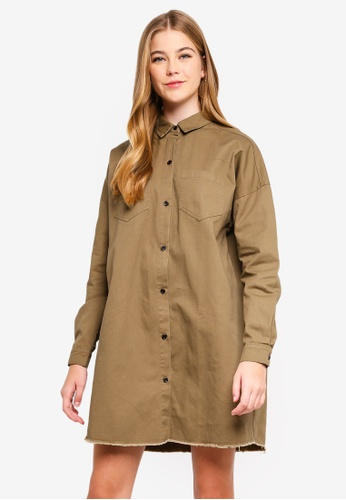 MISSGUIDED green Oversized Utility Shirt Dress A4010AAAF1C533GS_1