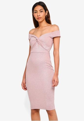 Lipsy pink Nude Bardot Glitter Knot Bodycon Dress B7C05AA834B469GS_1