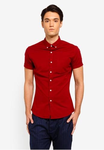 Topman 紅色 Burgundy Stretch Long Sleeve Shirt 41284AA8710C11GS_1