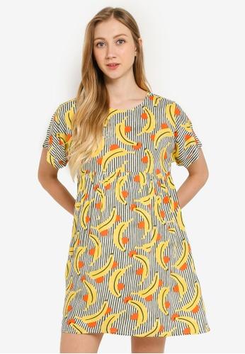Compania Fantastica multi Banana Print Smock Dress 874D7AAECFEA1AGS_1