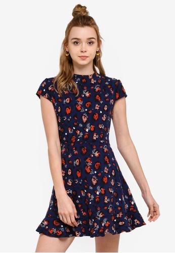 Something Borrowed 海軍藍色 高領修身喇叭裙洋裝 44270AA97FF2FAGS_1