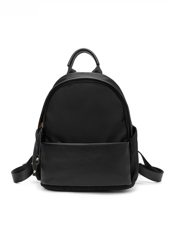 HAPPY FRIDAYS black Stylish Nylon Oxford Patch Faux Leather Backpack JW CL-C5067 E4372ACD4AF2A8GS_1