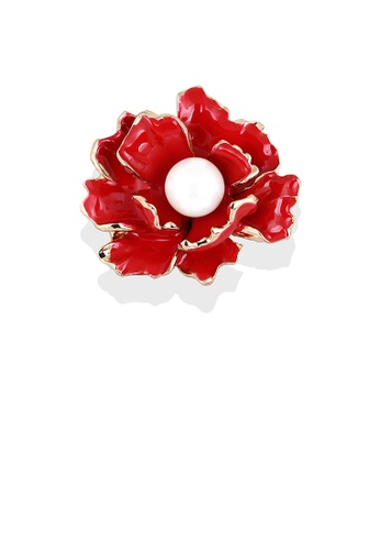 Glamorousky white Fashion and Elegant Plated Gold Red Flower Brooch with Imitation Pearls 6E7C4AC907B658GS_1