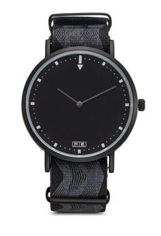 【ZALORA】 波浪紡織錶帶圓框手錶