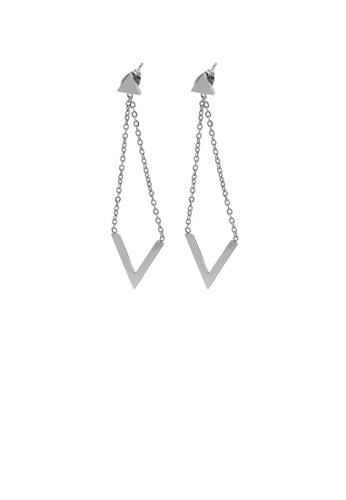 Glamorousky silver Simple Personality Tassel Geometric Triangle 316L Stainless Steel Earrings 26666AC30B8219GS_1