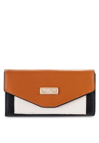 Unisa brown Faux Leather Colour Block Bi-Fold Wallet UN821AC16OXZMY_1