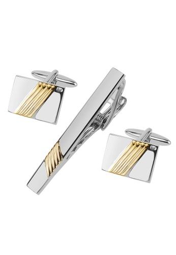 CUFF IT gold Silver and Gold Repp Stripe Cufflinks and Tie Clip Set CU047AC96WPBHK_1