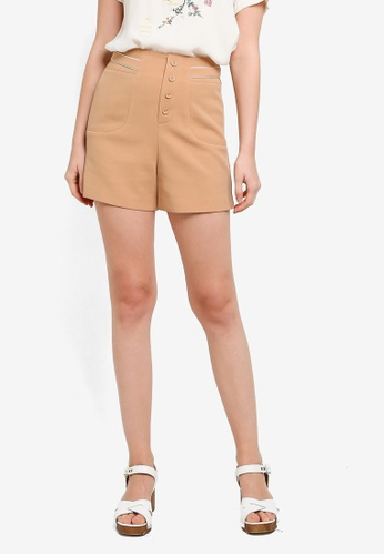Hopeshow brown Button Fly Flare Cuff Casual Shorts 8D6A2AA8955B1BGS_1