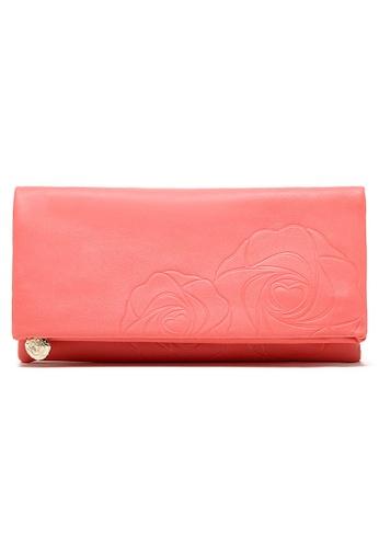 LULUGIFT pink Peach Rose Unique Retro PU Leather 2 Ways Purse LU989AC11MGEMY_1