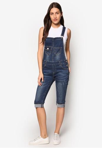 6' 反折吊帶連身牛仔褲, 服飾, 連身esprit 台中褲