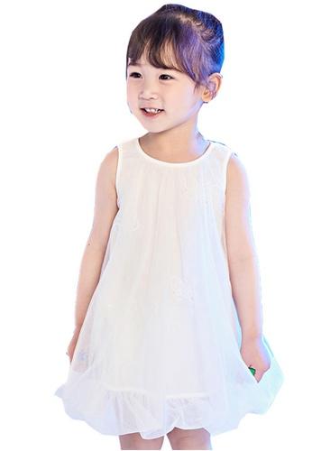 M.Latin white Sleeveless Dress with Mesh 2B8E2KA6B4C9F5GS_1