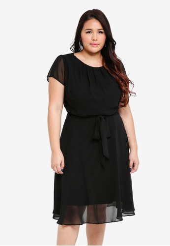Dorothy Perkins black Billie & Blossom Curve Black Pleat Tea Dress C92E0AA75C1159GS_1