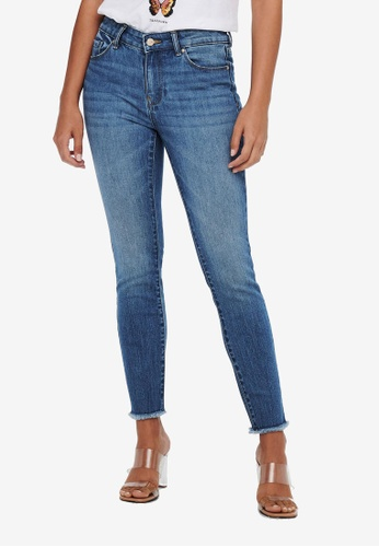 ONLY blue Hush Life Mid Skinny Ankle Raw Jeans 79B47AAD234EC4GS_1
