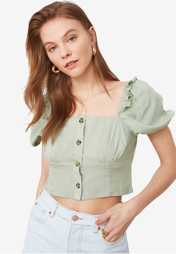 Trendyol green Button Detail Square Neck Top 97161AA9163A3FGS_1