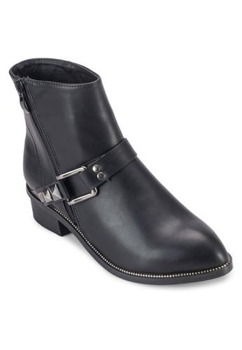 鉚esprit台灣outlet釘扣環帶拉鍊短靴, 女鞋, 鞋