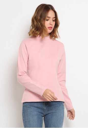 The Executive pink Mock Neck Long Sleeve T-Shirt 4A93CAA4FEA183GS_1