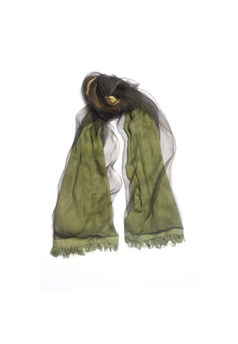OBX green OBX Sheer Veil Silk-blend Scarf 9DDA8ACF4A558FGS_1