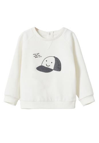 MANGO BABY white Textured Cotton-Blend Sweatshirt 75332KAF3426BDGS_1