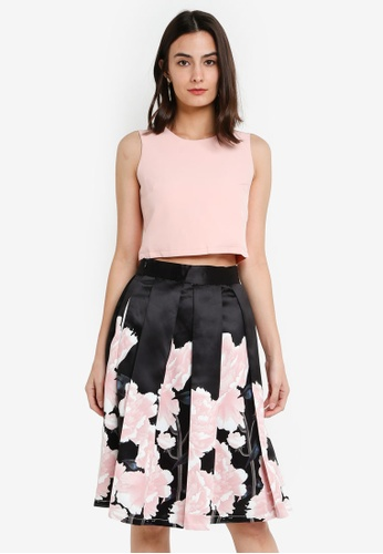Megane black Red Romance Aderienne Floral Print Top & Skirt Set 46AA0AAED466BDGS_1