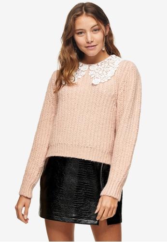TOPSHOP pink Pink Crochet Collar Jumper 00927AA64A0379GS_1