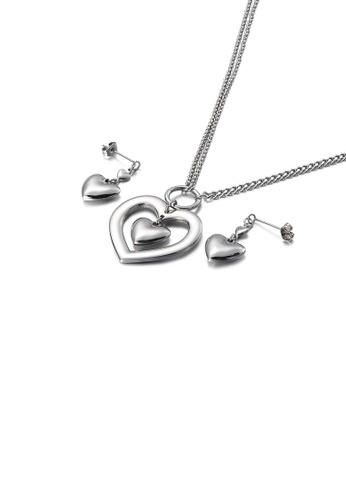 Glamorousky silver Fashion and Simple Hollow Double Heart 316L Stainless Steel Necklace and Earrings Set D2D8FAC903A37AGS_1