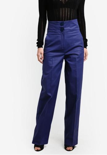 Mango blue Seams Waist Coated Trousers MA193AA0RXQWMY_1