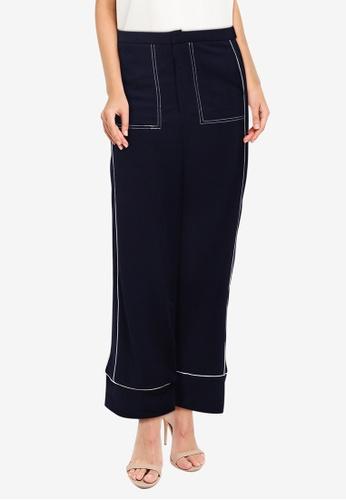 ZALORA WORK navy Contrast Stitch Long Pants 02714AA0EE7C27GS_1