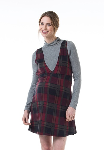 Bove by Spring Maternity red Knitted Long Sleeved Coralia V Neck Plaids Dress Maroon F0B15AA814AD72GS_1