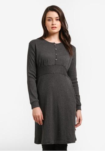 Zariya grey Ribbed Long Sleeve Blouse D0328AAF784C45GS_1