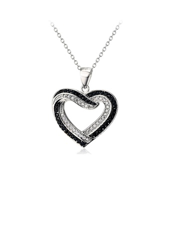 Glamorousky white 925 Sterling Silver Simple Romantic Heart Pendant with Black and White Cubic Zirconia and Necklace 5BFEDAC66F91B4GS_1
