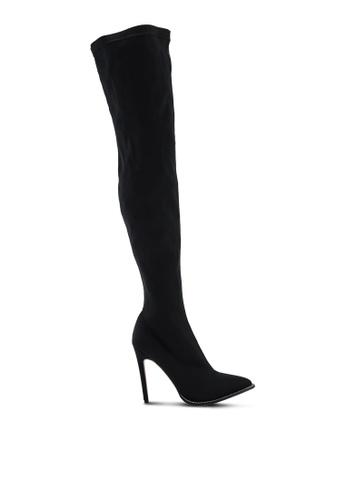 Public Desire 黑色 鑽飾鉚釘靴子 20620SHCDE8726GS_1